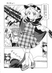 3girls 4koma ascot bow camisole cape comic detached_sleeves fedora glasses greyscale hair_bow hair_tubes hakurei_reimu hat highres kirisame_marisa long_hair low_twintails monochrome multiple_girls plaid plaid_skirt plaid_vest school_uniform shirt short_twintails skirt sleeveless sleeveless_shirt tako_(plastic_protein) touhou translation_request twintails usami_sumireko vest