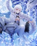 1girl ahoge bangs blue_eyes breasts cleavage dlwhdals901 dragon dungeon_and_fighter eyebrows_visible_through_hair hair_between_eyes highres ice large_breasts long_hair looking_at_viewer sidelocks sitting smile solo white_hair