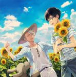 2boys ^_^ black_hair blue-framed_eyewear blue_sky closed_eyes closed_eyes clouds dog eyewear_removed flower glasses hat jewelry katsuki_yuuri kuroemon makkachin male_focus multiple_boys open_mouth ring shirt silver_hair sky smile striped striped_shirt sun_hat sunflower sunglasses viktor_nikiforov yuri!!!_on_ice