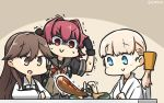 >:) 3girls aircraft airplane arashio_(kantai_collection) black_gloves blonde_hair blue_eyes brown_eyes brown_hair dated dougi eyebrows_visible_through_hair food gloves grey_sailor_collar hair_between_eyes hamu_koutarou highres japanese_clothes kantai_collection kinu_(kantai_collection) long_hair long_sleeves motion_lines multiple_girls open_mouth red_ribbon redhead remodel_(kantai_collection) ribbon sailor_collar shin'you_(kantai_collection) shirt short_hair short_sleeves sitting smile v-shaped_eyebrows white_shirt