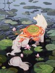 amaterasu animal animal_ears commentary english_commentary fire flower jiayue_wu lily_(flower) lily_pad looking_to_the_side nature no_humans ookami_(game) outdoors partially_submerged reflector_(ookami) ripples shield water white_fur wolf wolf_ears