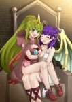 2girls blush bracelet chiki cloak closed_eyes dragon_wings dress fire_emblem fire_emblem:_monshou_no_nazo fire_emblem:_seima_no_kouseki fire_emblem_heroes green_eyes green_hair highres hood hood_down jewelry long_hair mamkute multi-tied_hair multiple_girls myrrh nintendo open_mouth panties panties_around_leg pointy_ears ponytail purple_hair sitting stone the-sinner tiara twintails underwear white_dress white_panties wings wristband yuri