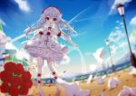 1girl absurdres clouds cross detached_collar dress flower fufumi hair_flower hair_ornament highres honkai_impact lamppost long_hair open_mouth outdoors red_eyes rose shoes silver_hair sky smile solo strapless strapless_dress theresa_apocalypse white_dress