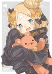 1girl :3 :d abigail_williams_(fate/grand_order) bangs black_bow black_jacket blonde_hair blue_eyes blush bow commentary_request dutch_angle english fate/grand_order fate_(series) grey_background hair_bow hair_bun hands_up heart heroic_spirit_traveling_outfit jacket long_hair long_sleeves object_hug open_mouth orange_bow parted_bangs polka_dot polka_dot_bow sleeves_past_fingers sleeves_past_wrists smile solo star star-shaped_pupils stuffed_animal stuffed_toy symbol-shaped_pupils teddy_bear translation_request two-tone_background white_background yumeji_(puni_mento)