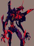 armor blood bloody_hands dripping eva_01 highres mecha nekoixa neon_genesis_evangelion simple_background solo teeth vambraces white_eyes