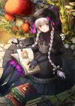 1girl beret black_bow black_dress black_hat book bow bowtie braid doll_joints dress fate/extra fate_(series) flower gothic_lolita hair_bow hat hat_bow holding holding_book kichannico lolita_fashion long_hair mushroom nursery_rhyme_(fate/extra) open_book pile_of_books puffy_short_sleeves puffy_sleeves red_flower short_sleeves silver_hair sitting solo tree twin_braids violet_eyes white_flower