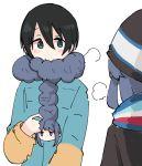2girls black_hair blue_hair blush green_eyes hat jitome multiple_girls saitou_ena scarf shima_rin shiroshi_(denpa_eshidan) short_hair visible_air white_background winter_clothes yurucamp