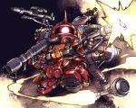 bazooka firing full_body gun gundam gundam_thunderbolt highres horn ishiyumi machine_gun mecha no_humans one-eyed pink_eyes solo space thrusters weapon zaku_ii_(reuse_p_device)