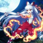 1girl :o album_cover ankle_boots baggy_pants bamboo bangs boots bow clenched_hand collared_shirt cover dress_shirt eyebrows_visible_through_hair feet_out_of_frame fighting_stance fire fujiwara_no_mokou full_moon hair_bow hair_ribbon hime_cut long_hair long_sleeves looking_away miruki moon night night_sky ofuda open_mouth outdoors pants red_eyes red_footwear red_pants ribbon shirt sidelocks silver_hair sky solo star_(sky) starry_sky suspenders touhou tress_ribbon v-shaped_eyebrows very_long_hair white_bow white_shirt