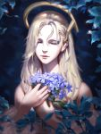1girl bare_shoulders blonde_hair bouquet close-up closed_eyes closed_mouth commentary english_commentary face facing_viewer flower hair_between_eyes highres holding liang_xing lips long_hair mechanical_halo mercy_(overwatch) off_shoulder overwatch patreon_username smile solo watermark web_address