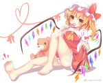 1girl barefoot blonde_hair bow candy commentary_request eating eyebrows_visible_through_hair flandre_scarlet food hat heart highres licking lollipop open_mouth panties ramudia_(lamyun) red_bow red_eyes shadow simple_background sitting smile stuffed_animal stuffed_toy teddy_bear thighs toes touhou underwear white_background white_panties wings yellow_neckwear