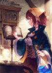 1girl atelier_(series) atelier_sophie bangs benitama blue_cloak blue_coat boiling book book_stand bookshelf breasts brown_eyes commentary_request flask frills hair_ornament hat highres holding holding_flask indoors jewelry liquid medium_breasts necklace open_book pot reading redhead round-bottom_flask short_hair smile solo sophie_neuenmuller standing wide_sleeves
