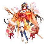 1girl bikini black_hair blue_bikini bow breasts closed_mouth faicha fate/grand_order fate_(series) flower full_body hair_flower hair_ornament highres holding holding_staff japanese_clothes kimono large_breasts long_hair looking_at_viewer obi orange_kimono red_bow red_eyes sash simple_background smile solo staff standing swimsuit white_background xuanzang_(fate/grand_order)