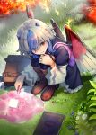 1girl alchemy bird_wings blue_hair boots briefcase commentary_request creature dress eho_(icbm) fire flower frilled_dress frills ghast grass head_wings highres horns light_smile long_sleeves minecraft orange_eyes short_hair single_head_wing slime squatting tokiko_(touhou) touhou vial white_hair wide_sleeves wings