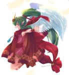 1girl angel_wings chiki cloak closed_eyes dress fire_emblem fire_emblem:_monshou_no_nazo fire_emblem_heroes from_side green_hair hair_ribbon highres hood hood_down long_hair mamkute matumuraaaa nintendo open_mouth pink_dress pointy_ears ponytail ribbon short_dress simple_background solo stone tiara twitter_username white_background wings wristband