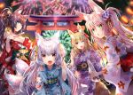 4girls :o animal_ear_fluff animal_ears blonde_hair blurry blurry_background blush breasts brown_hair cleavage eyebrows_visible_through_hair fang fireworks fox_ears fox_mask fox_tail hair_ornament hair_ribbon heterochromia japanese_clothes kimono large_breasts leaning_forward long_hair looking_at_viewer looking_back mask medium_breasts multiple_girls multiple_tails night off_shoulder one_eye_closed open_mouth original pink_hair pointing ponytail ribbon silver_hair small_breasts smile standing tail torii twintails usagihime yellow_eyes yukata