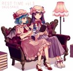 2girls ankle_boots ankle_socks arms_up bangs bat_wings blouse blue_hair book book_stack boots brooch commentary_request couch cravat cup double_bun dress english eyebrows_visible_through_hair floor_lamp hat hat_ribbon holding holding_book holding_cup holding_saucer jewelry kashiwagi_chisame long_hair looking_at_another looking_at_viewer mob_cap multiple_girls neck_ribbon open_book open_mouth patchouli_knowledge pink_blouse pink_skirt puffy_short_sleeves puffy_sleeves purple_dress purple_hair red_eyes red_footwear red_ribbon remilia_scarlet ribbon robe saucer short_hair short_sleeves sitting skirt skirt_set striped striped_dress teacup touhou very_long_hair violet_eyes white_footwear white_legwear wings