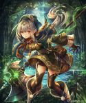 1girl black_gloves black_legwear breasts brown_feathers brown_shorts dress floating_hair forest garter_straps gloves green_dress highres holding holding_weapon leaning_forward long_hair madogawa medium_breasts nature outdoors pointy_ears poleaxe shadowverse short_dress shorts shorts_under_dress silver_hair solo standing thigh-highs tree very_long_hair weapon yellow_eyes