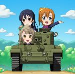 3girls black_hair blue_eyes brown_eyes brown_hair caterpillar_tracks chibi clouds cromwell_(tank) enter_enter_mission! flower girls_und_panzer ground_vehicle kousaka_honoka long_hair love_live! love_live!_school_idol_project military military_vehicle minami_kotori motor_vehicle mountain multiple_girls neckerchief school_uniform side_ponytail sky smile sonoda_umi tank tree uniform yellow_eyes yudoufu_(yudouhu)