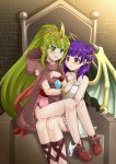 2girls blush bracelet chiki cloak dragon_wings dress fire_emblem fire_emblem:_monshou_no_nazo fire_emblem:_seima_no_kouseki fire_emblem_heroes green_eyes green_hair highres hood hood_down jewelry long_hair mamkute multi-tied_hair multiple_girls myrrh nintendo open_mouth panties panties_around_leg pointy_ears ponytail purple_hair red_eyes sitting stone the-sinner tiara twintails underwear white_dress wings wristband yuri