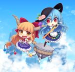 2girls :d :o album_cover bangs barefoot black_hat blue_hair blue_skirt blue_sky blunt_bangs boots bow chains chibi clenched_hands clouds cover cube day fang food fruit gourd hair_bow hat hinanawi_tenshi holding holding_sword holding_weapon horn_ribbon horns ibuki_suika keystone long_hair low-tied_long_hair miruki multiple_girls oni open_mouth orange_hair peach puffy_short_sleeves puffy_sleeves purple_skirt pyramid_(geometry) red_bow red_eyes ribbon rope shide shimenawa shirt short_sleeves sidelocks skirt sky sleeveless sleeveless_shirt smile sphere sword sword_of_hisou touhou very_long_hair weapon white_shirt wrist_cuffs