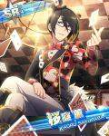 black_hair blue_eyes cards character_name glasses idolmaster idolmaster_side-m sakuraba_kaoru short_hair smile