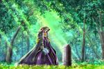 1boy 910pan ainz_ooal_gown bouquet commentary_request day dress flower forest holding holding_bouquet hood lich long_dress nature outdoors overlord_(maruyama) solo standing sunlight tombstone tree white_flower