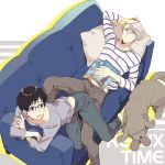 2boys barefoot black_hair blue-framed_eyewear blue_eyes brown_eyes couch dog glasses katsuki_yuuri kuroemon lying magazine makkachin male_focus multiple_boys on_back pillow shirt silver_hair striped striped_shirt viktor_nikiforov yuri!!!_on_ice