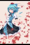 1girl autumn_leaves bangs barefoot beige_background black_neckwear black_ribbon black_skirt blue_bow blue_eyes blue_hair blue_nails blush bow breasts cirno commentary_request cosplay eyebrows_visible_through_hair feet_out_of_frame floral_print hair_between_eyes hair_bow hair_ribbon hand_up hat highres ice ice_wings leg_up letterboxed nail_polish neck_ribbon petticoat puffy_short_sleeves puffy_sleeves red_ribbon ribbon roke_(taikodon) shameimaru_aya shameimaru_aya_(cosplay) shirt short_hair short_sleeves simple_background skirt small_breasts smile solo tassel tokin_hat touhou white_shirt wings wrist_ribbon