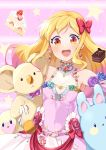 1girl :d absurdres aikatsu!_(series) aikatsu_stars! armpits bare_shoulders blonde_hair blush bow brown_eyes cake chocolate_cake choker commentary_request dress earrings eyebrows_visible_through_hair eyeliner flower flower_ornament food fruit gradient_hair hair_bow hair_down hand_up heart heart_choker heart_earrings highres holding holding_stuffed_animal jewelry koala lipstick long_hair looking_at_viewer makeup multicolored_hair nijino_yume open_mouth pink_hair rabbit round_teeth sleeveless sleeveless_dress slice_of_cake smile spaghetti_strap star strawberry strawberry_shortcake stuffed_animal stuffed_toy teeth upper_body upper_teeth wara_(warapro)