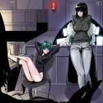 2girls absurdres artist_name black_dress black_eyes black_hair breasts chair collared_dress commentary_request curly_hair desk dress fubuki_(one-punch_man) fur_coat green_eyes green_hair highres large_breasts long_sleeves looking_at_viewer multiple_girls one-punch_man one_eye_closed pants sgb short_hair siblings sisters small_breasts smile sweater tatsumaki