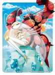 buzzwole creatures_(company) game_freak gen_7_pokemon insect_girl muscle nintendo no_humans official_art pheromosa pokemon pokemon_(game) pokemon_sm pokemon_trading_card_game pose ultra_beast