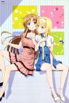 2girls :o absurdres alice_schuberg asuna_(sao) bare_legs between_legs blonde_hair blue_dress blue_ribbon blush body_blush bracelet braided_ponytail breasts brown_eyes collarbone collared_dress dress eyes_visible_through_hair hair_between_eyes hair_ribbon hairband hand_between_legs hand_on_floor high_heels highres indoors jewelry large_breasts light_blue_eyes light_brown_hair locked_arms long_hair looking_at_another magazine_scan medium_breasts megami multiple_girls nail navy_blue_footwear necklace official_art open_hand pink_dress ribbed_dress ribbon sandals scan short_dress short_sleeves sitting smile sword_art_online sword_art_online_alicization toenails toes tongue white_dress white_footwear white_hairband yokota_takumi