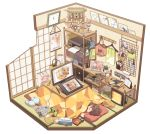1girl book bookshelf brand_name_imitation brown_hair cellphone clock clothes_hanger controller drawing_tablet figure floorplan food hair_dryer headphones headphones_removed heater interior itou_(mogura) kotatsu lint_roller monitor mouse_(computer) original phone pocky printer sleeping slippers_removed smartphone special_feeling_(meme) table tablet tissue_box trash_can umbrella