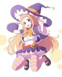 1girl artist_request breasts character_request dress halloween hat long_hair pantyhose pumpkin skirt small_breasts solo third-party_source witch_hat