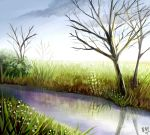 bare_tree blue_sky clouds day flower grass lily_of_the_valley no_humans original outdoors reflection river scenery sky tree waraimasuka