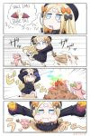1girl 4koma :i abigail_williams_(fate/grand_order) bamboo bamboo_broom bangs black_bow black_dress black_footwear black_hat blonde_hair bloomers blue_eyes blush_stickers bow broom bug butterfly closed_mouth comic commentary_request crossed_bandaids dress drooling eating eyebrows_visible_through_hair fate/grand_order fate_(series) fire food food_on_face forehead_beam from_above hair_bow hat highres holding holding_broom holding_food insect keyhole leaf long_hair long_sleeves looking_at_viewer neon-tetora one_knee orange_bow parted_bangs polka_dot polka_dot_bow red_eyes romaji saliva sleeves_past_fingers sleeves_past_wrists stuffed_animal stuffed_toy sweet_potato teddy_bear translation_request underwear v-shaped_eyebrows very_long_hair wavy_mouth white_bloomers yakiimo