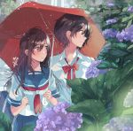 2girls blue_sailor_collar blue_skirt blush bow cover_image dress_shirt flower fly_(marguerite) hand_in_another's_hair long_hair looking_to_the_side md5_mismatch multiple_girls neckerchief original pleated_skirt profile red_bow red_neckwear red_ribbon red_umbrella ribbon sailor_collar school_uniform serafuku shared_umbrella shirt short_hair skirt umbrella white_shirt yuri