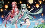 2girls :d ahoge blue_eyes blue_hair double_bun dress eyebrows_visible_through_hair floating_hair flower full_moon hair_between_eyes hair_flower hair_ornament hair_ribbon hatsune_miku high_heels holding kongxin_dian lantern long_hair looking_at_viewer megurine_luka midriff moon multiple_girls navel night open_mouth outdoors paper_lantern pink_flower pink_hair red_ribbon ribbon shiny shiny_hair short_shorts short_sleeves shorts sky smile standing star_(sky) starry_sky stomach twintails very_long_hair vocaloid water white_dress white_shorts wrist_cuffs