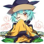 >_< 4girls :d ;o ? ahoge aqua_hair bangs black_hat blush butterfly_wings caramell0501 chibi chibi_inset commentary cosplay eternity_larva eyebrows_visible_through_hair green_skirt hand_up hat head_tilt heart long_hair long_sleeves looking_at_viewer matara_okina matara_okina_(cosplay) multiple_girls nishida_satono one_eye_closed open_mouth orange_eyes oversized_clothes sakata_nemuno short_hair short_hair_with_long_locks simple_background skirt sleeves_past_fingers sleeves_past_wrists smile solo_focus spoken_question_mark tabard teireida_mai touhou white_background wide_sleeves wings xd