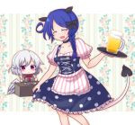 2girls :x alcohol animal_ears apron beer beer_mug black_bow black_choker blue_hair blush_stickers bow bowtie braid breasts choker cleavage closed_eyes collarbone cup dirndl doremy_sweet dress floral_background food fork german_clothes hair_bow kishin_sagume knife mug multiple_girls no_hat no_headwear polka_dot polka_dot_dress puffy_short_sleeves puffy_sleeves red_eyes red_neckwear sausage shiohachi shirt short_sleeves silver_hair single_braid single_wing skirt_hold striped striped_apron striped_shirt tail tapir_ears tapir_tail touhou tray waist_apron white_wings wings