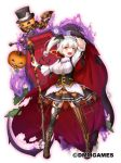 1girl :d black_hat black_skirt breasts brown_footwear cape cleavage coffin flower_knight_girl full_body gloves halloween hat jack-o'-lantern large_breasts leaf legs_apart looking_at_viewer mismatched_legwear nakaishow official_art open_mouth orange_eyes pumpkin scythe shoes short_hair side_ponytail simple_background skirt smile solo standing striped striped_legwear thigh-highs top_hat torn_clothes torn_thighhighs vertical-striped_legwear vertical_stripes warunasubi_(flower_knight_girl) white_background white_gloves white_hair