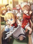 5girls absurdres ahoge black_bow blonde_hair blue_eyes blush book bookshelf bow braid brown_eyes brown_hair choker computer cup day desk doughnut eating eyebrows_visible_through_hair eyewear_on_head food g36_(girls_frontline) girls_frontline glasses goback green_hat grey_eyes grizzly_mkv_(girls_frontline) gun hair_bow hat hat_removed headwear_removed highres holding holding_gun holding_tray holding_weapon holy_hand_grenade indoors laptop lee-enfield_(girls_frontline) long_sleeves looking_at_another looking_away maid maid_headdress monty_python monty_python_and_the_holy_grail mp40_(girls_frontline) multiple_girls necktie negev_(girls_frontline) open_mouth parted_lips pastry_box pink_hair plate red_bow red_eyes red_neckwear short_hair sitting standing star star_choker swivel_chair table teacup teapot tray twin_braids weapon whiteboard window