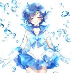 1girl bishoujo_senshi_sailor_moon blue_bow blue_hair blue_skirt blush bow bowtie bubble choker closed_eyes collarbone cowboy_shot earrings elbow_gloves gloves head_tilt headpiece jewelry miniskirt pleated_skirt sailor_collar sailor_mercury shirataki_kaiseki shirt short_hair signature skirt sleeveless sleeveless_shirt smile solo standing white_background white_gloves white_shirt