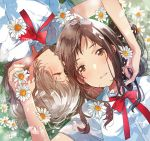 2girls blush bow brown_eyes brown_hair closed_eyes dress_shirt flower fly_(marguerite) holding holding_another's_hair holding_flower light_brown_hair mole mole_under_mouth multiple_girls original parted_lips petals red_bow red_neckwear red_ribbon ribbon school_uniform shirt white_shirt yuri