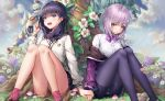 2girls black_hair blue_eyes blush bow bowtie breasts clouds cloudy_sky flower grass hand_holding highres jacket leaf long_sleeves mecha multiple_girls mushroom off_shoulder open_mouth outdoors pantyhose purple_hair red_eyes school_uniform shinjou_akane shorts shorts_under_skirt sitting skirt sky ssss.gridman takarada_rikka tree xi_zhujia_de_rbq