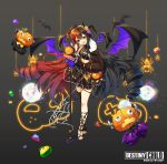1girl :d asymmetrical_legwear bangs black_gloves black_hair black_legwear black_skirt black_wings bolt breasts brown_hair brown_jacket bug character_request commentary_request copyright_name crop_top crossed_legs demon_girl demon_horns demon_tail demon_wings destiny_child disco_ball drill_hair eyebrows_visible_through_hair fang fingerless_gloves flower fur-trimmed_jacket fur_trim gloves grey_background hair_between_eyes hair_flower hair_ornament halloween hand_in_pocket head_tilt highres holding holding_microphone horns jack-o'-lantern jacket legs_crossed long_hair long_sleeves microphone microphone_stand multicolored multicolored_hair multicolored_wings nail_polish open_mouth partially_unzipped pink_flower pink_rose puffy_long_sleeves puffy_sleeves purple_flower purple_rose purple_wings red_nails ringlets rose silk single_thighhigh skirt small_breasts smile solo spider spider_web striped striped_legwear tail thigh-highs toeless_legwear toenail_polish toenails tp_(kido_94) twin_drills two-tone_hair vertical-striped_legwear vertical_stripes very_long_hair watson_cross wings yellow_flower yellow_rose