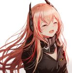 1girl bangs black_jacket blush breasts crying fangs girls_frontline hair_between_eyes happy_tears headgear jacket long_hair m4_sopmod_ii_(girls_frontline) medium_breasts multicolored_hair open_mouth pink_hair redhead scarf silence_girl simple_background smile solo streaked_hair tears white_background