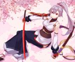1girl absurdres armor asymmetrical_sleeves cherry_blossoms fate/grand_order fate_(series) fingerless_gloves gloves grey_hair hair_between_eyes hair_ribbon highres hip_vent holding holding_weapon japanese_armor japanese_clothes justice_kidd kimono long_hair looking_at_viewer red_eyes red_gloves red_ribbon ribbon sash shoulder_armor single_detached_sleeve slit_pupils smile sode solo tomoe_gozen_(fate/grand_order) weapon