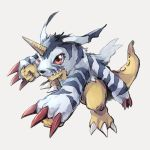 creature digimon gabumon grey_background highres horn no_humans red_eyes simple_background takase_(takase1214)